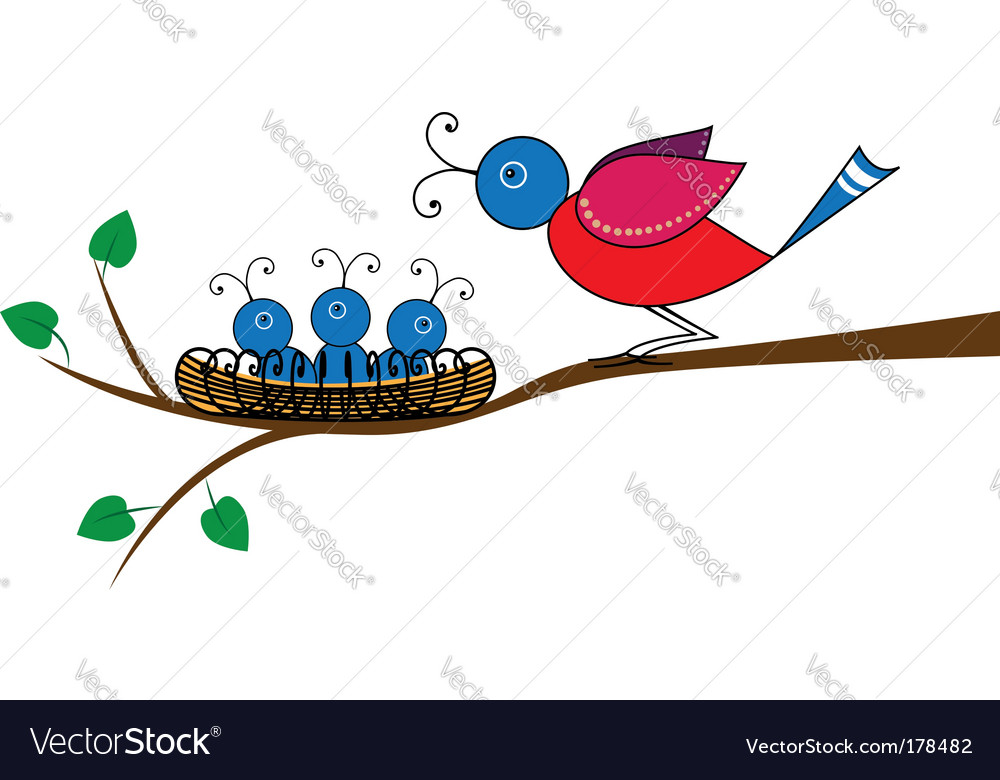 Bird and nestlings vector | Price: 1 Credit (USD $1)