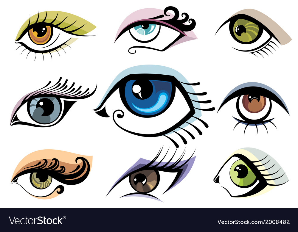 Collection of eye icons vector | Price: 1 Credit (USD $1)