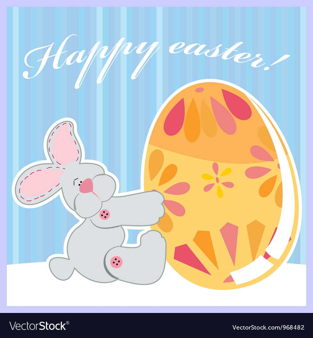 Cute easter bunny holding egg vector | Price: 1 Credit (USD $1)