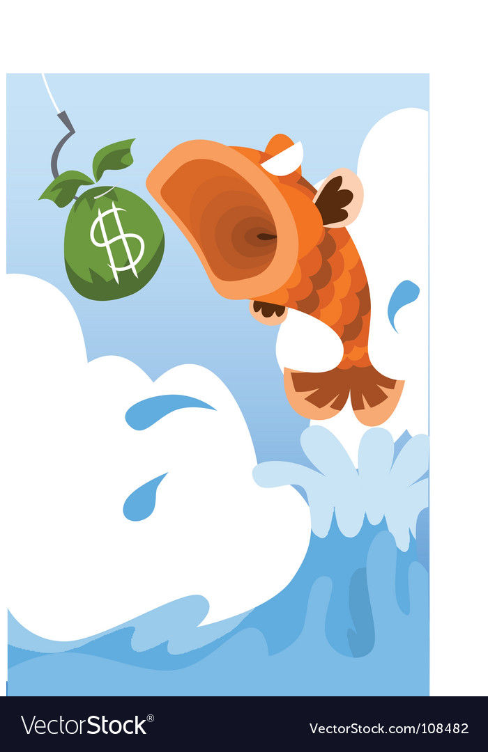 Fish eat money vector | Price: 1 Credit (USD $1)