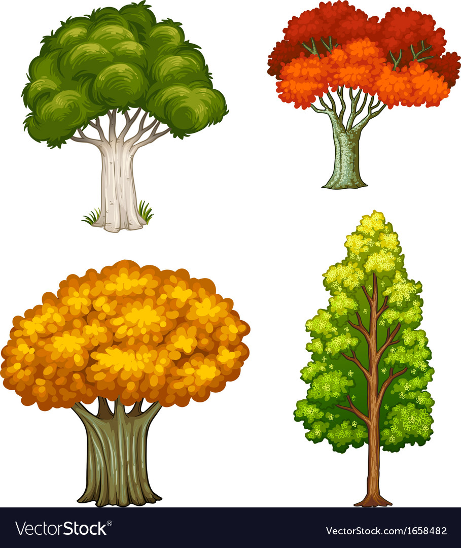 Four trees with different colors vector | Price: 3 Credit (USD $3)