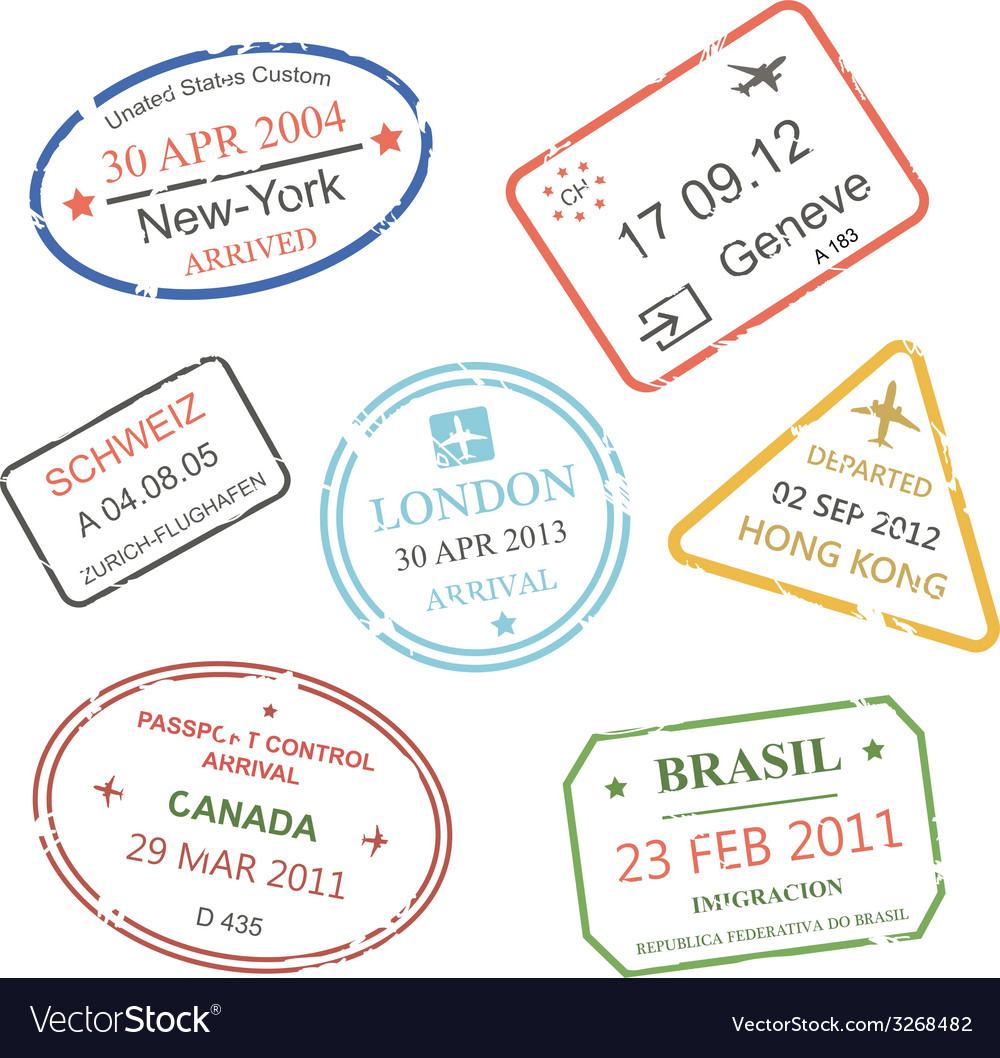 International business travel visa stamps set vector | Price: 1 Credit (USD $1)