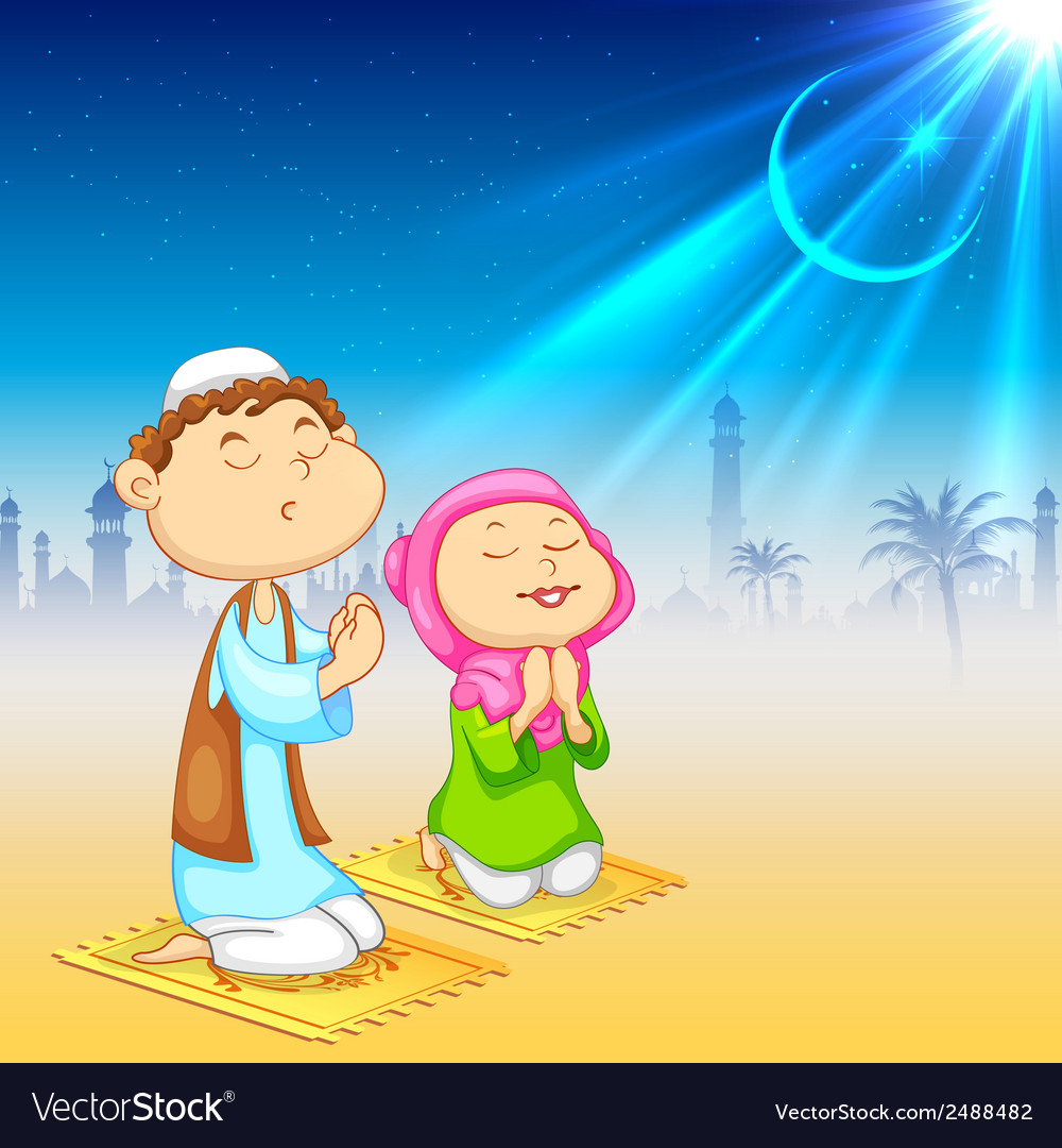 Kids offering namaaz for eid celebration vector | Price: 1 Credit (USD $1)