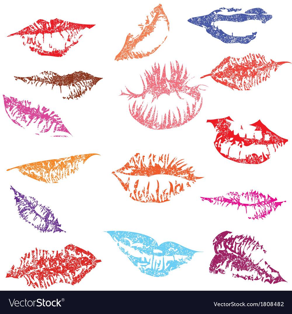 Lip print track set in tender kiss love vector | Price: 1 Credit (USD $1)