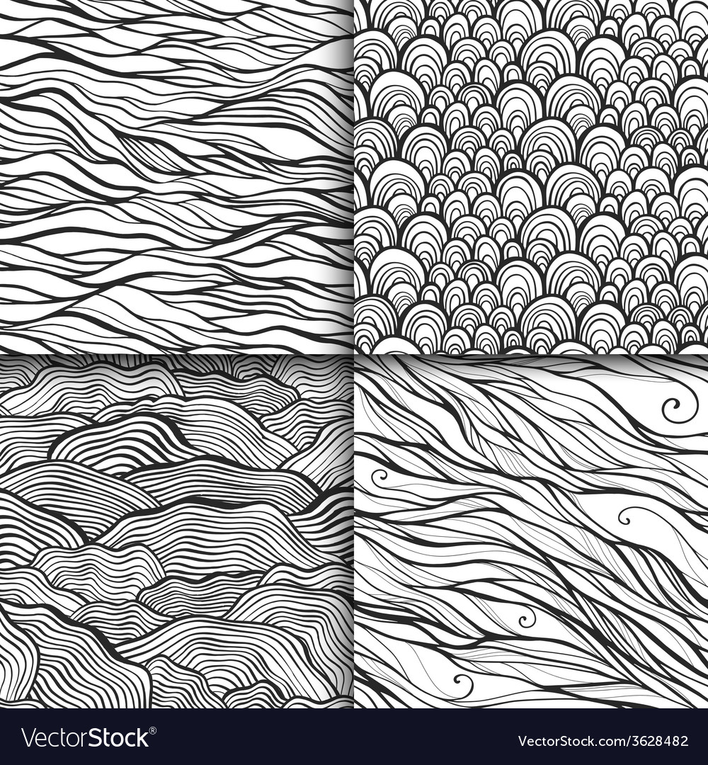 Neutral monochrome doodle seamless patterns set vector | Price: 1 Credit (USD $1)