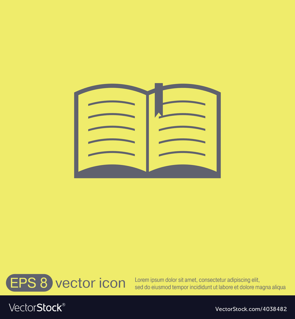 Open book education sign symbol icon book with a vector | Price: 1 Credit (USD $1)