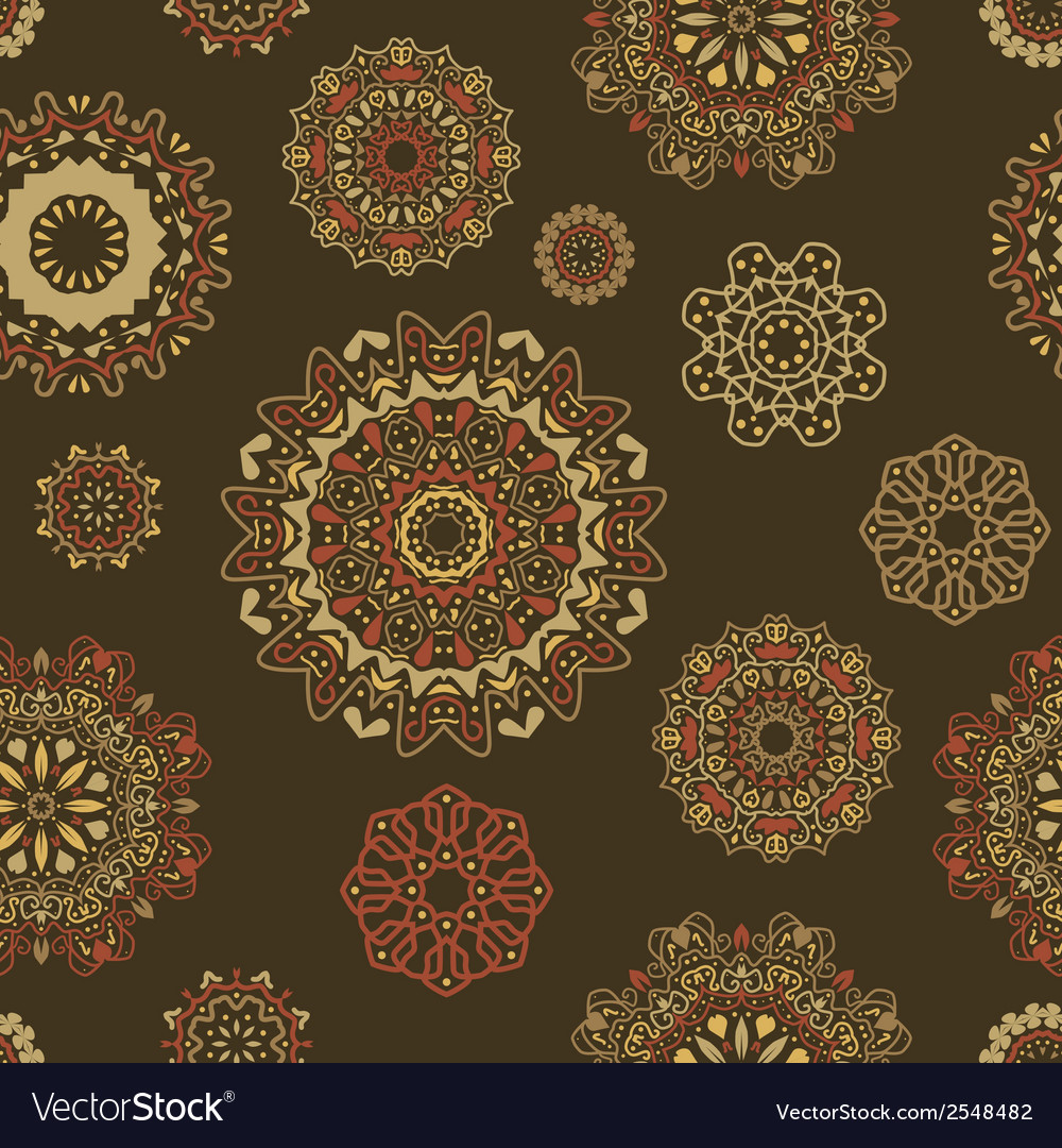 Seamless pattern with round floral ornaments vector | Price: 1 Credit (USD $1)