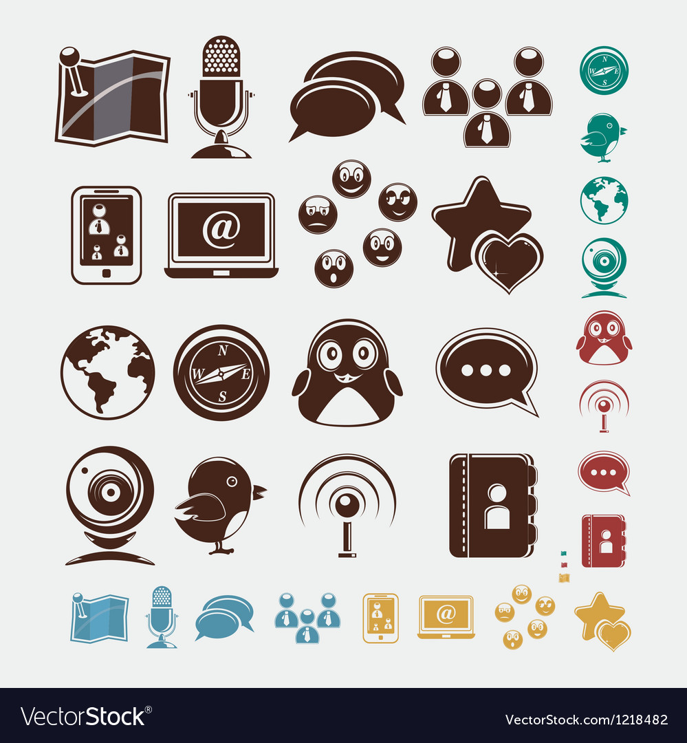 Social set of icons vector | Price: 1 Credit (USD $1)