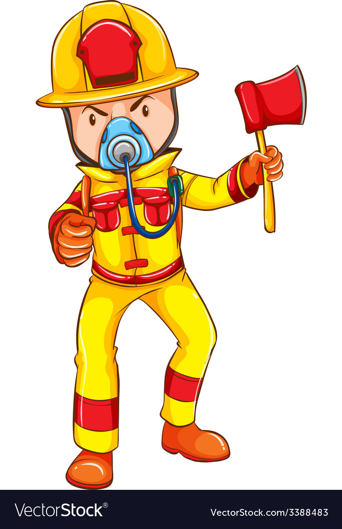 A fireman wearing a yellow uniform vector | Price: 1 Credit (USD $1)