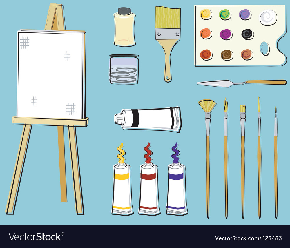Art supplies  painting vector | Price: 1 Credit (USD $1)