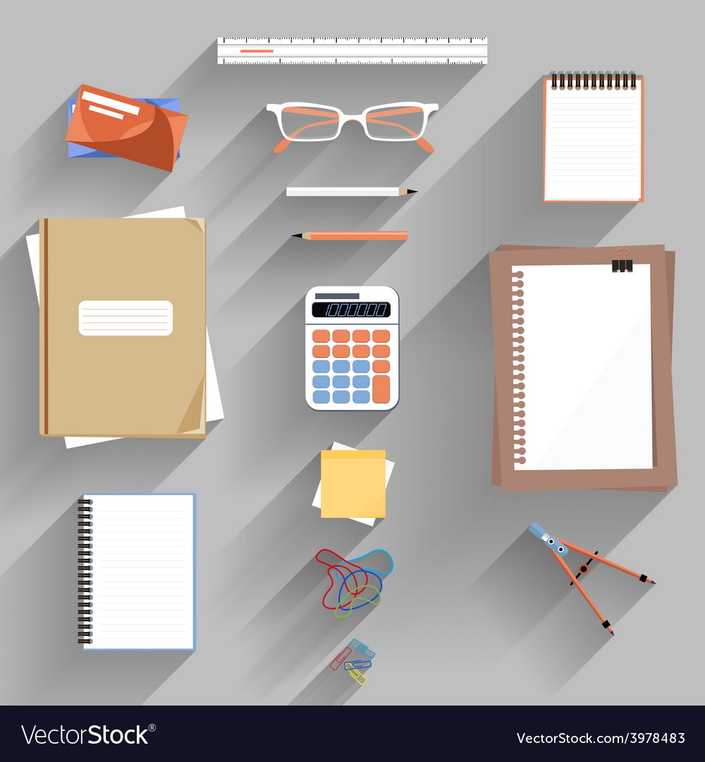 Calculator ruler and paper on an office desk vector   Price: 1 Credit (USD $1)