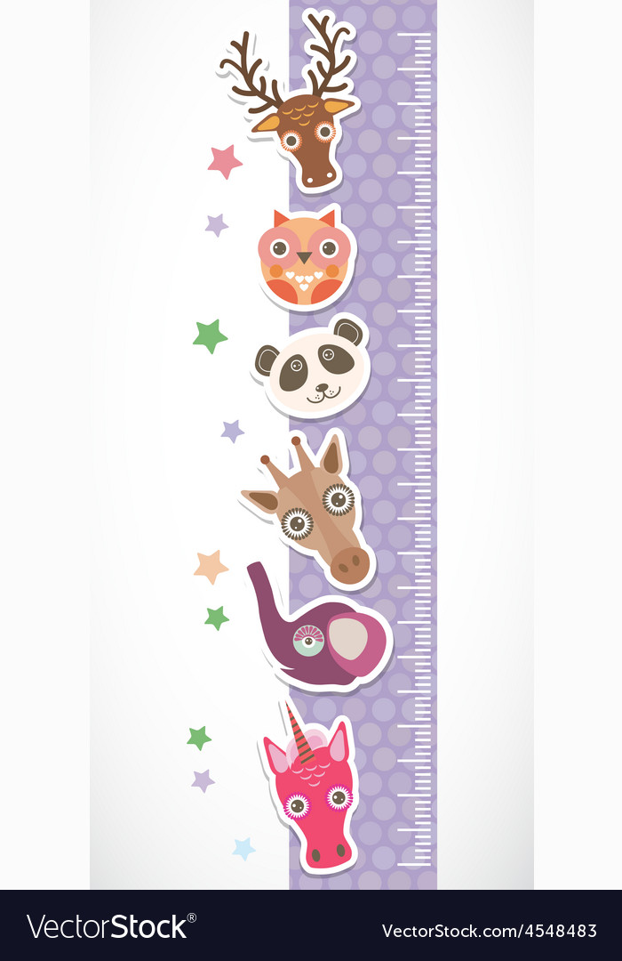 Children height meter wall sticker set of funny vector | Price: 1 Credit (USD $1)