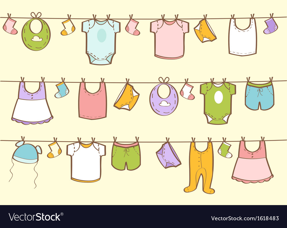 Cute hand drawn baby clothes vector | Price: 1 Credit (USD $1)