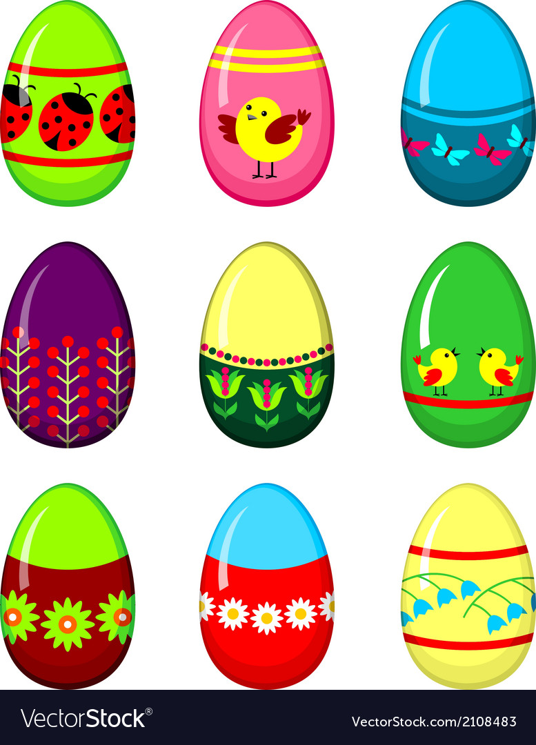 Easter eggs set vector | Price: 1 Credit (USD $1)