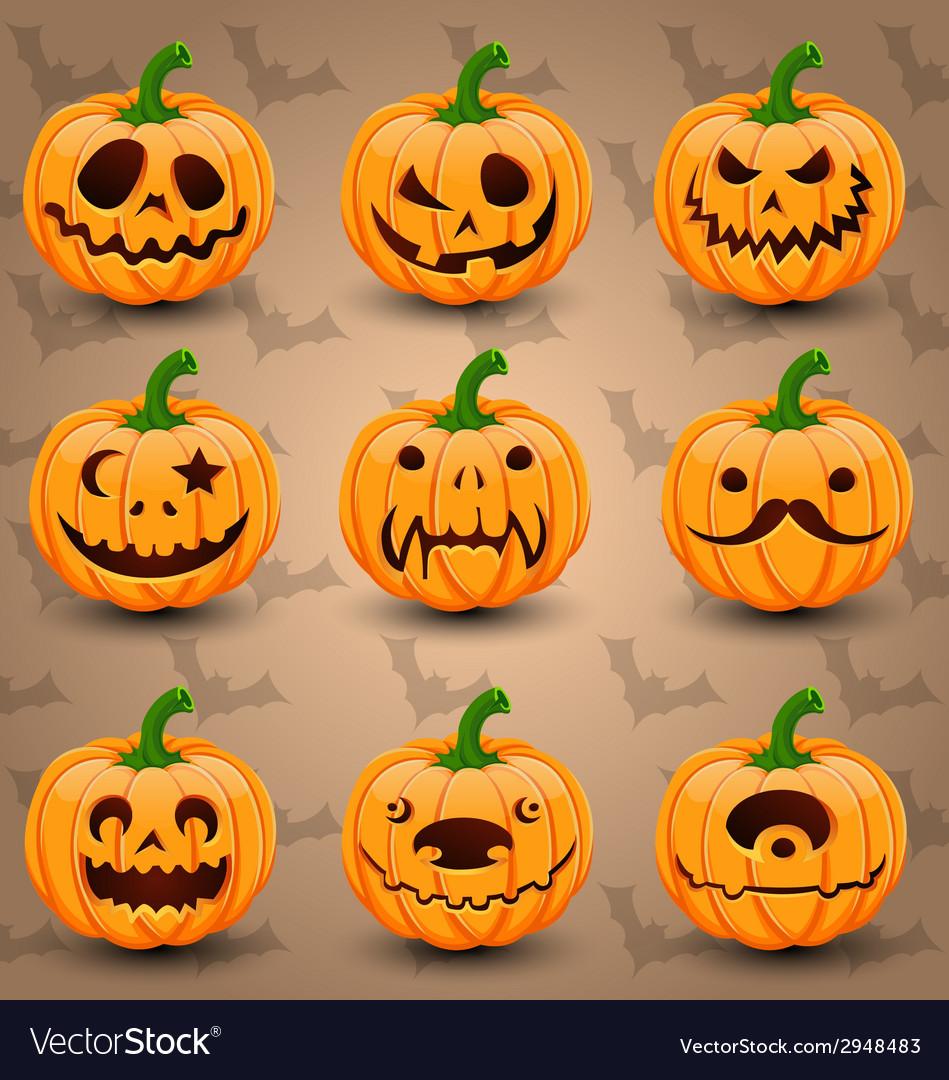 Set of face halloween pumpkins vector | Price: 3 Credit (USD $3)