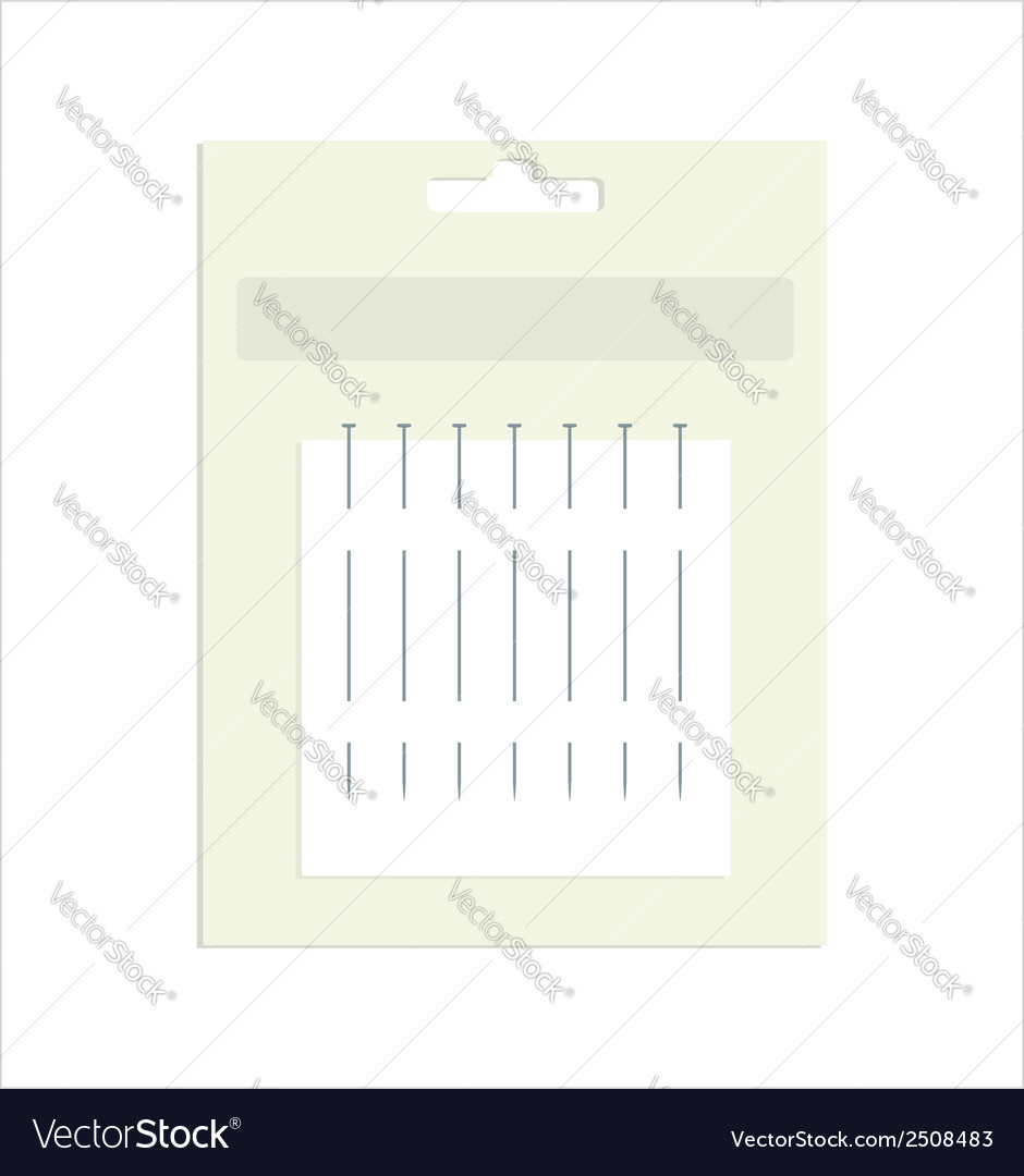 Sewing pins in product packaging vector | Price: 1 Credit (USD $1)