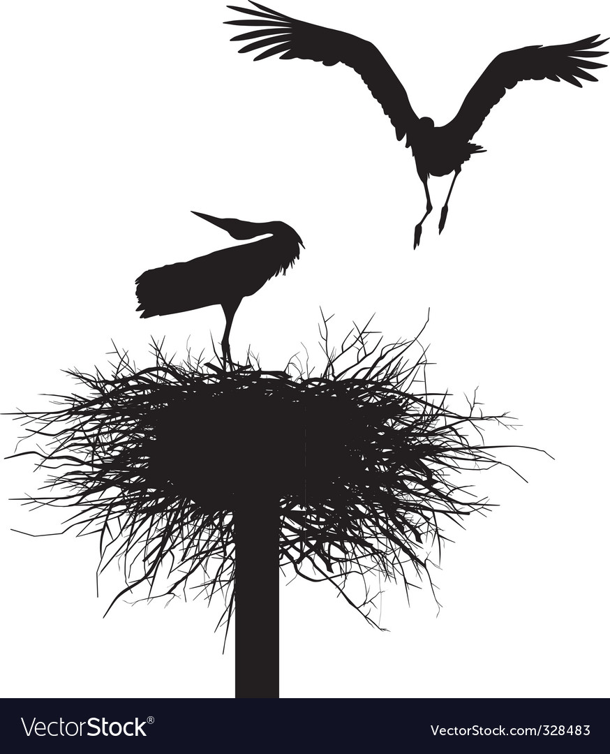 Storks in the nest vector | Price: 1 Credit (USD $1)