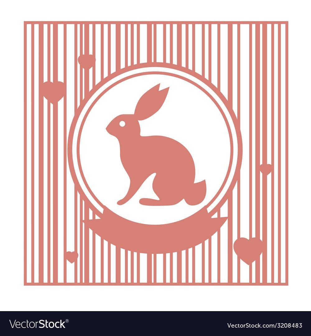 Valentive stamp design with rabbit vector   Price: 1 Credit (USD $1)