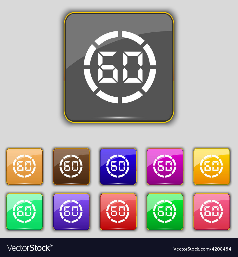 60 second stopwatch icon sign set with eleven vector | Price: 1 Credit (USD $1)