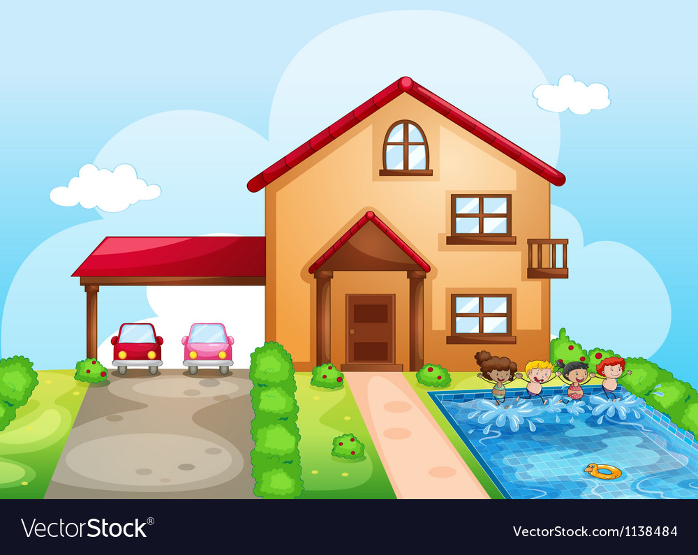 A house and kids vector | Price: 1 Credit (USD $1)