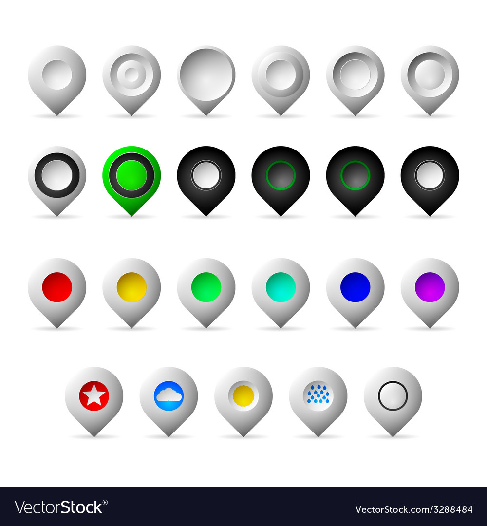Colored markers geolocation icons vector | Price: 1 Credit (USD $1)