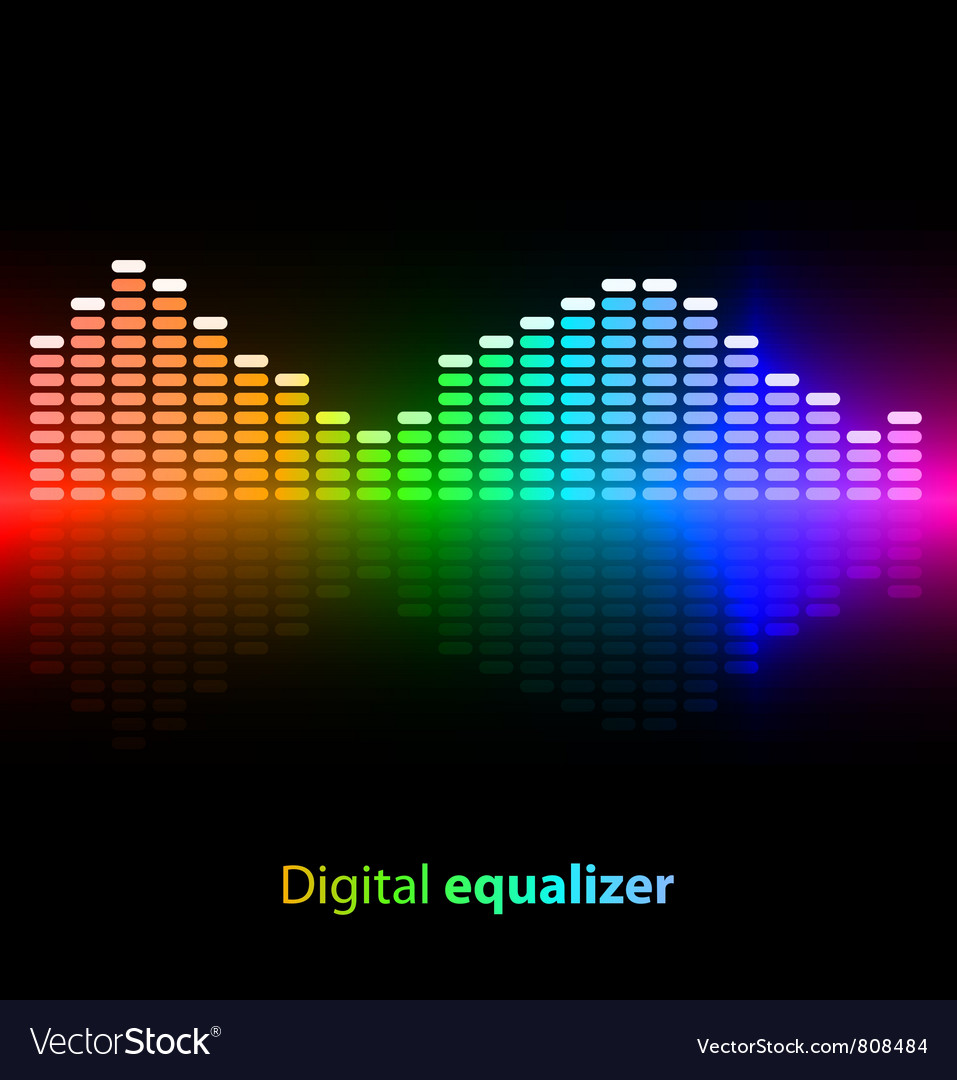 Colorful digital equalizer on black background vector | Price: 1 Credit (USD $1)