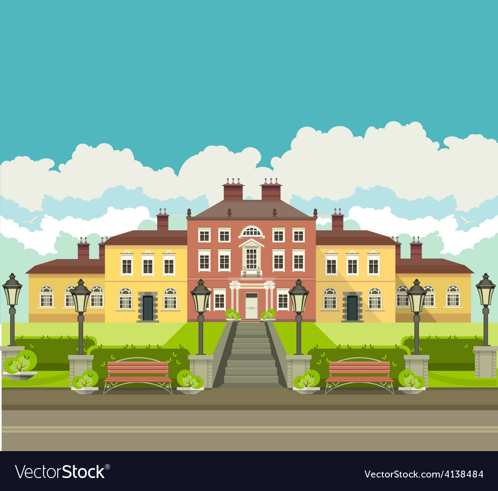Country house with park vector   Price: 3 Credit (USD $3)