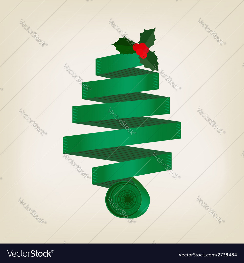 Festive green christmas tree of coiled ribbon vector | Price: 1 Credit (USD $1)