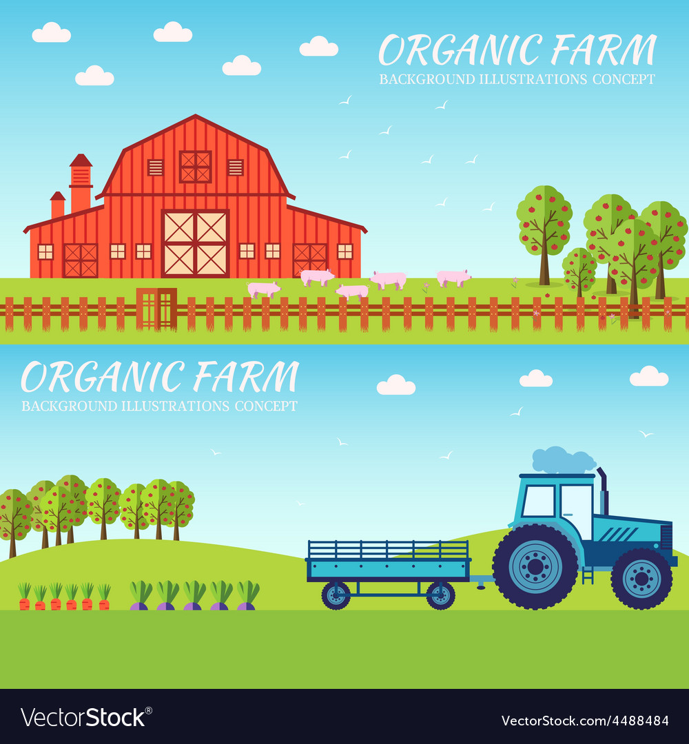 Flat farm in village set sprites and tile sets vector