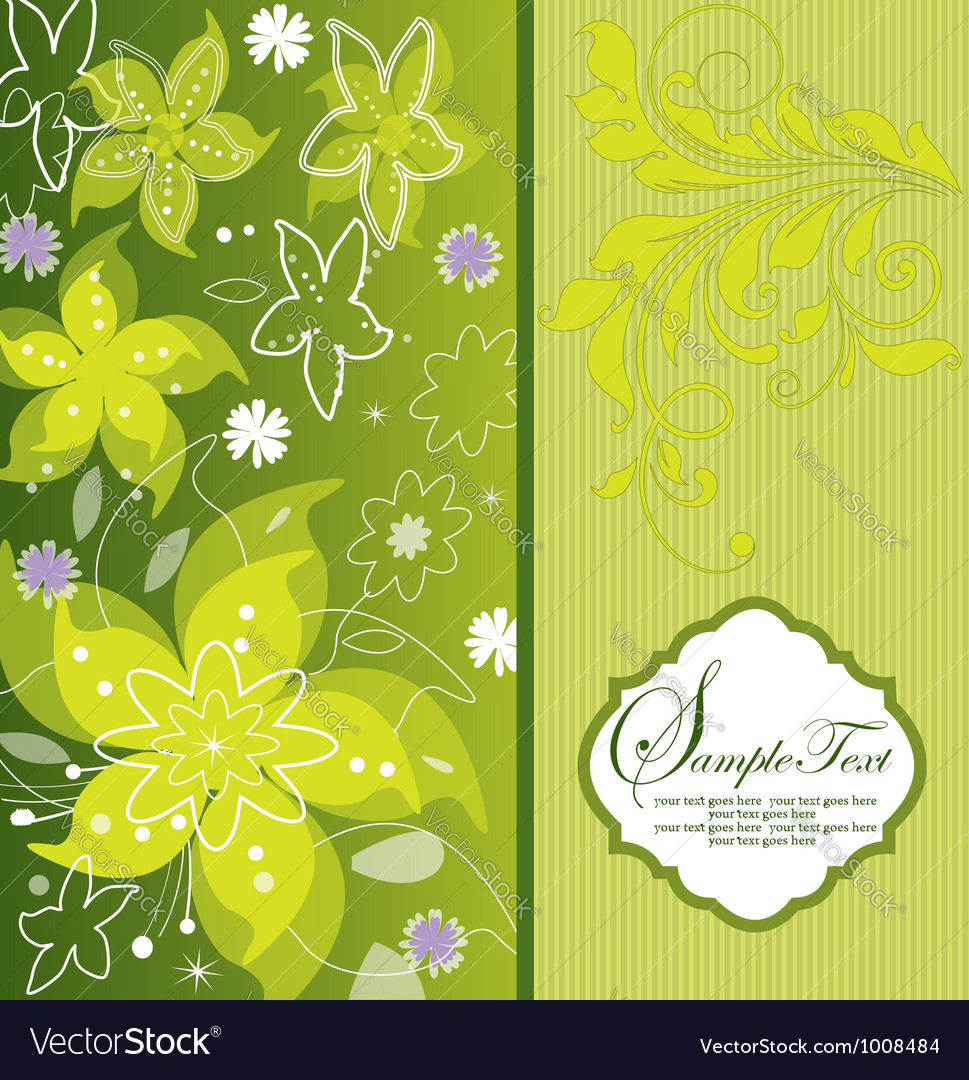 Green flower background greeting card vector | Price: 1 Credit (USD $1)
