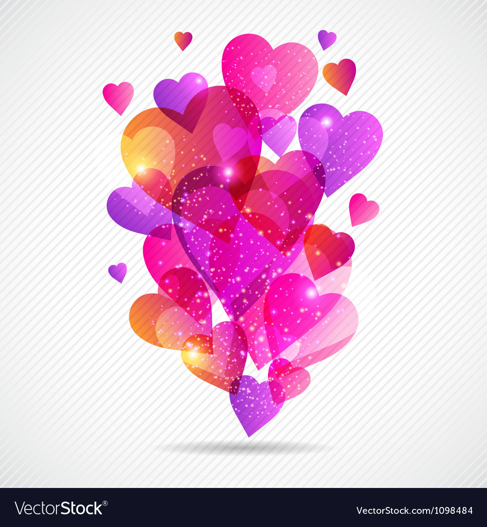 Valentines day background with flying hearts vector | Price: 1 Credit (USD $1)
