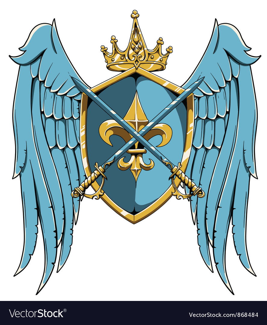 Vintage crest with wings vector | Price: 1 Credit (USD $1)