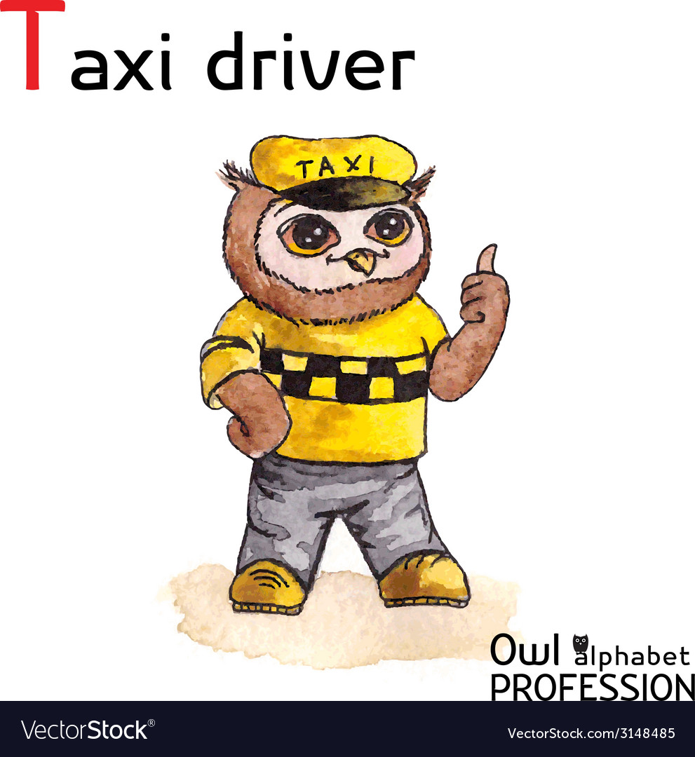 Alphabet professions owl letter t - taxi driver vector | Price: 1 Credit (USD $1)