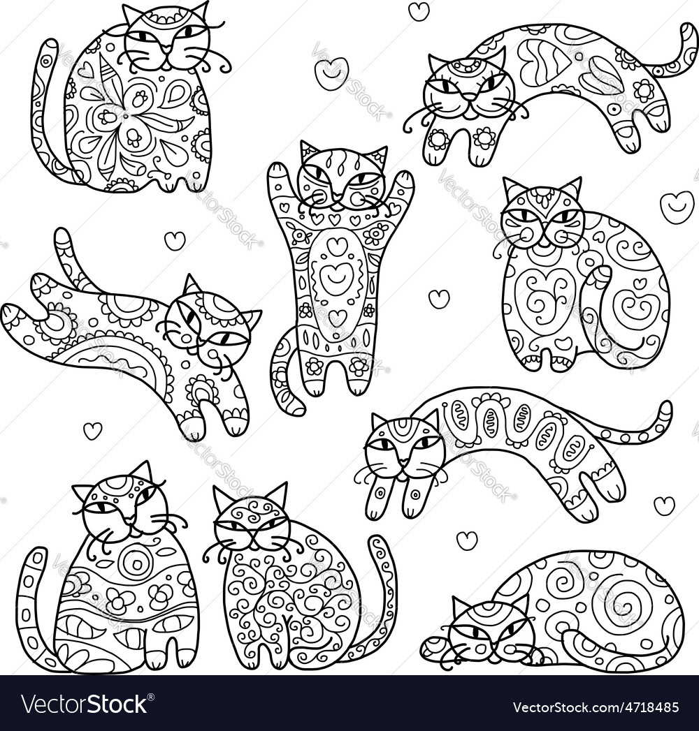 Art cats with floral ornament for your design vector | Price: 1 Credit (USD $1)