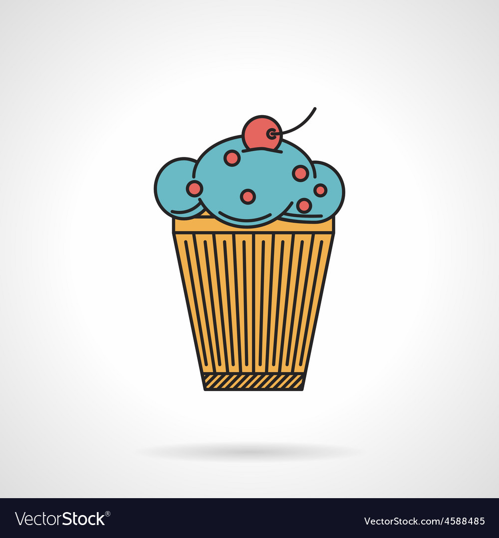 Berry muffin flat icon vector | Price: 1 Credit (USD $1)