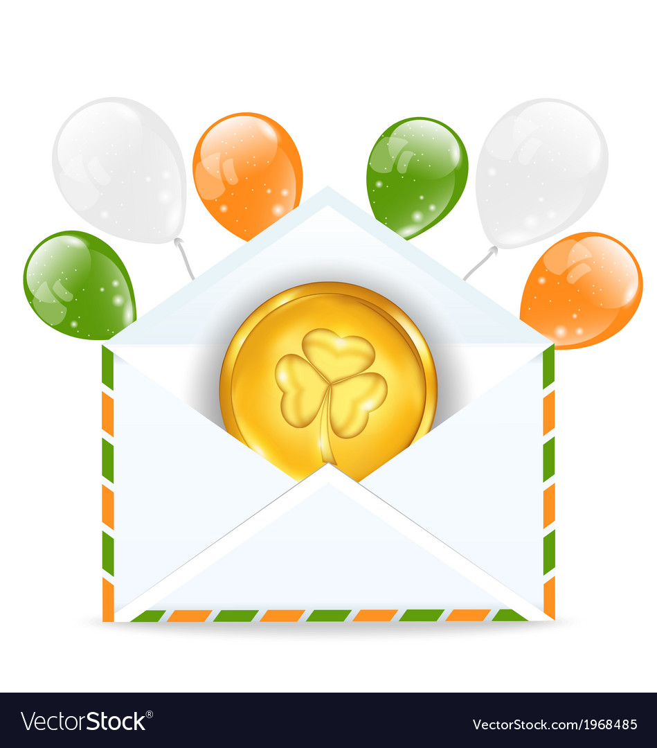 Envelope with golden coin and colorful balloons vector | Price: 1 Credit (USD $1)