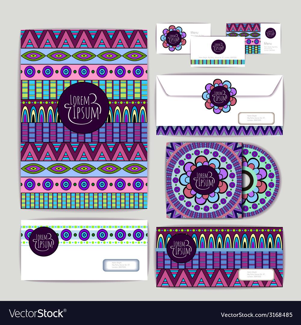 Ethnic ornament document template design vector | Price: 1 Credit (USD $1)
