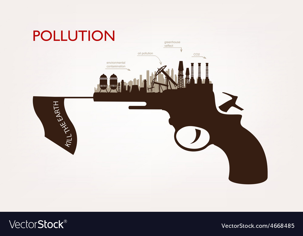 Gun with plants pollution the concept of ecology vector | Price: 1 Credit (USD $1)