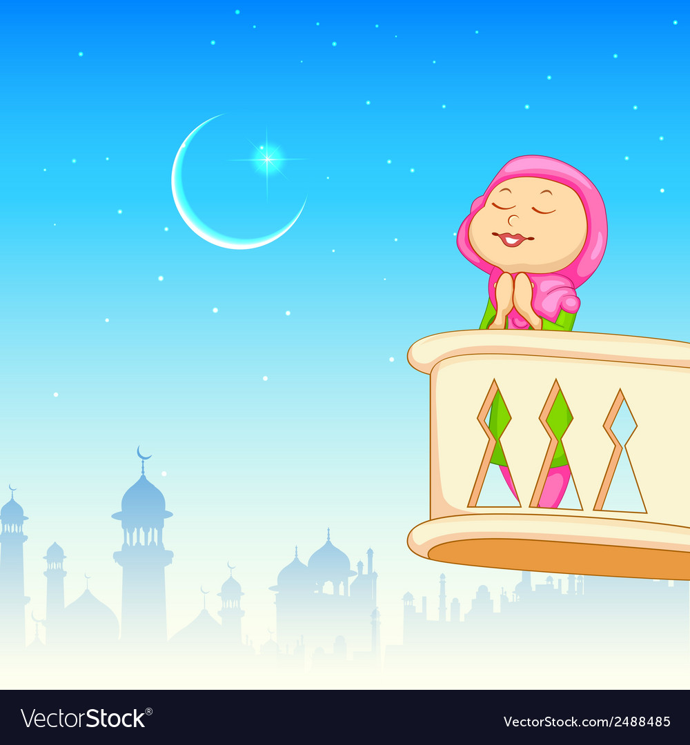Kid offering namaaz for eid celebration vector | Price: 1 Credit (USD $1)