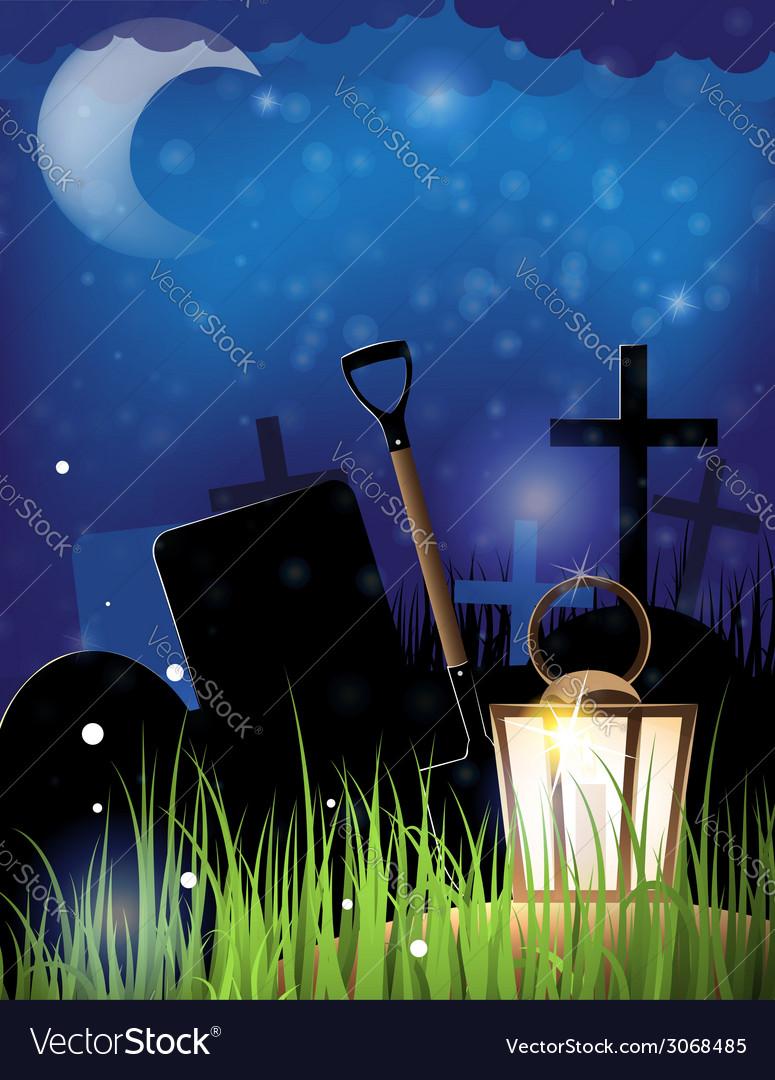 Night cemetery vector | Price: 3 Credit (USD $3)