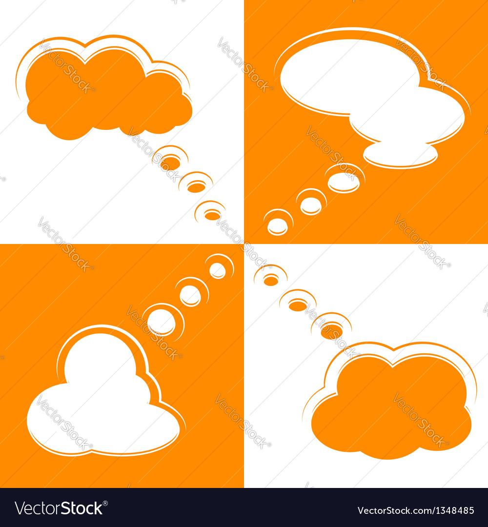 Set of cloud shape speech bubbles vector | Price: 1 Credit (USD $1)