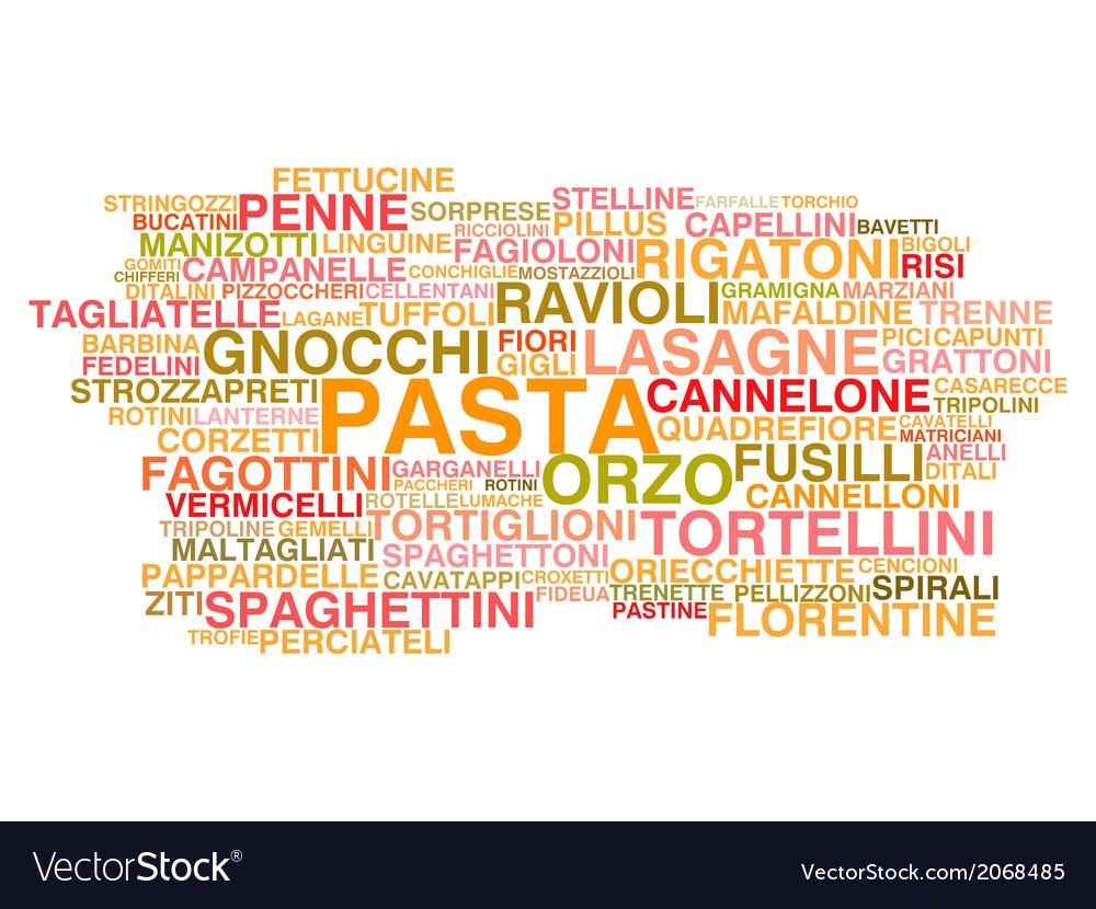 Types of italian pasta vector | Price: 1 Credit (USD $1)