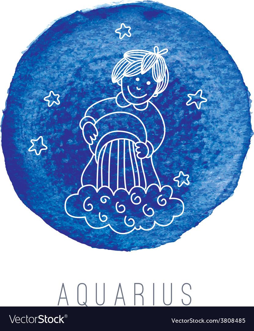 Watercolor of the water-bearer aquarius vector | Price: 1 Credit (USD $1)