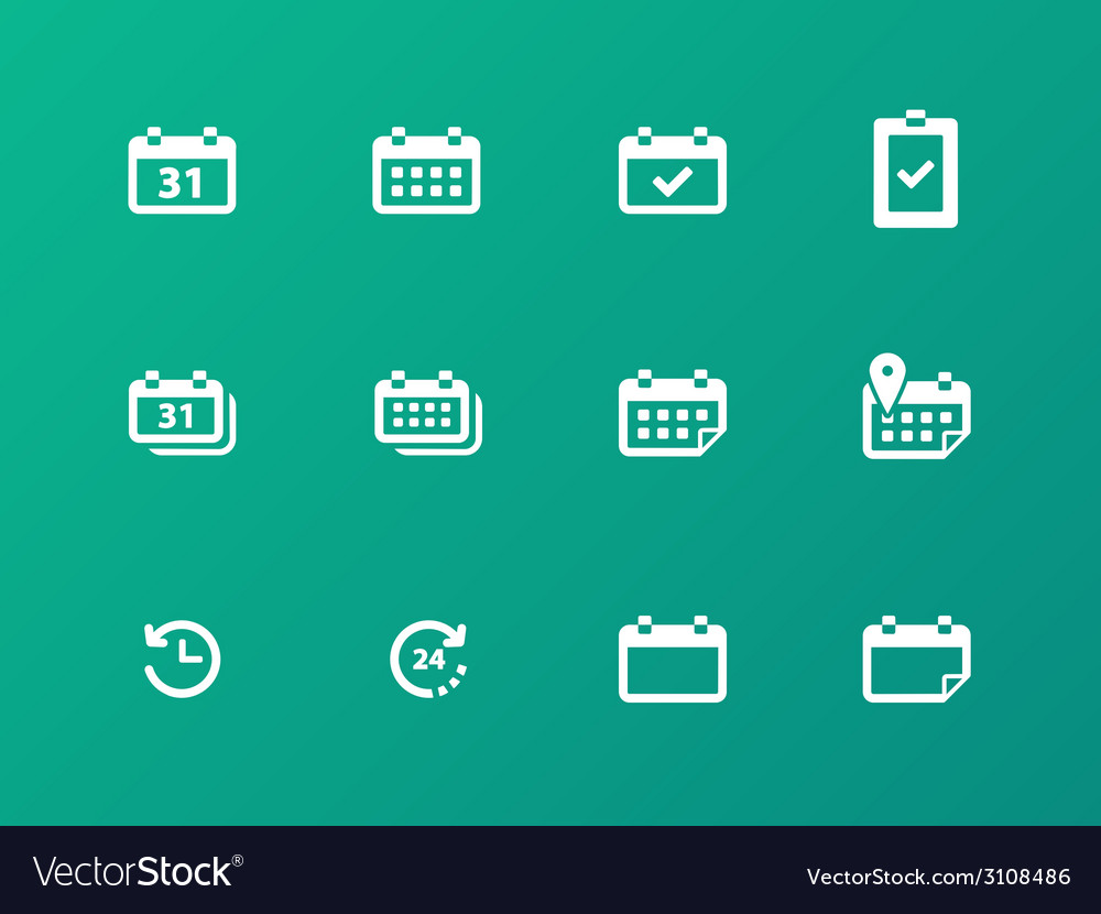 Calendar icons on green background vector | Price: 1 Credit (USD $1)