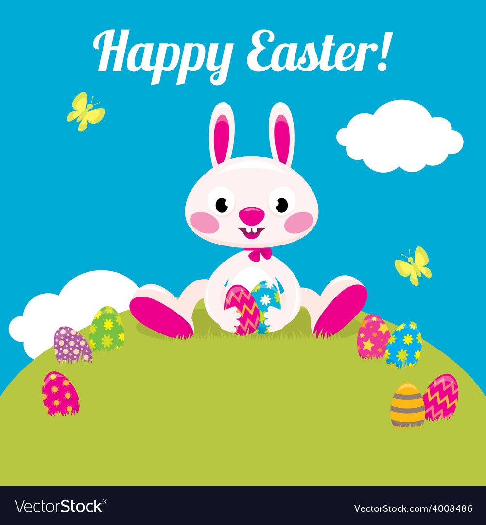 Easter bunny and easter colored eggs vector | Price: 1 Credit (USD $1)