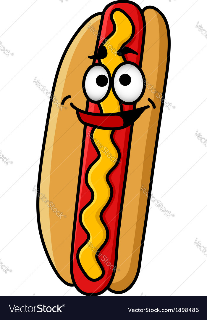 Happy hot dog with moustard vector | Price: 1 Credit (USD $1)
