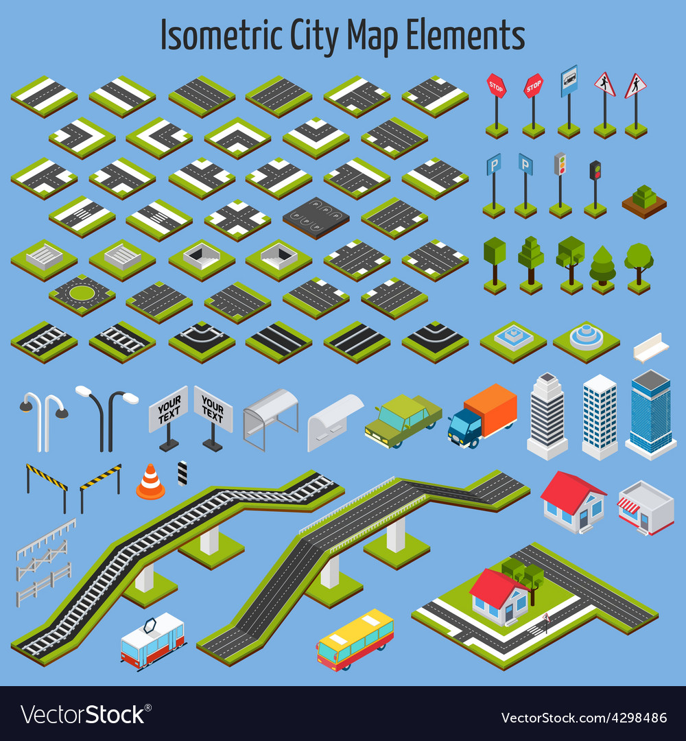 Isometric city map elements vector | Price: 1 Credit (USD $1)