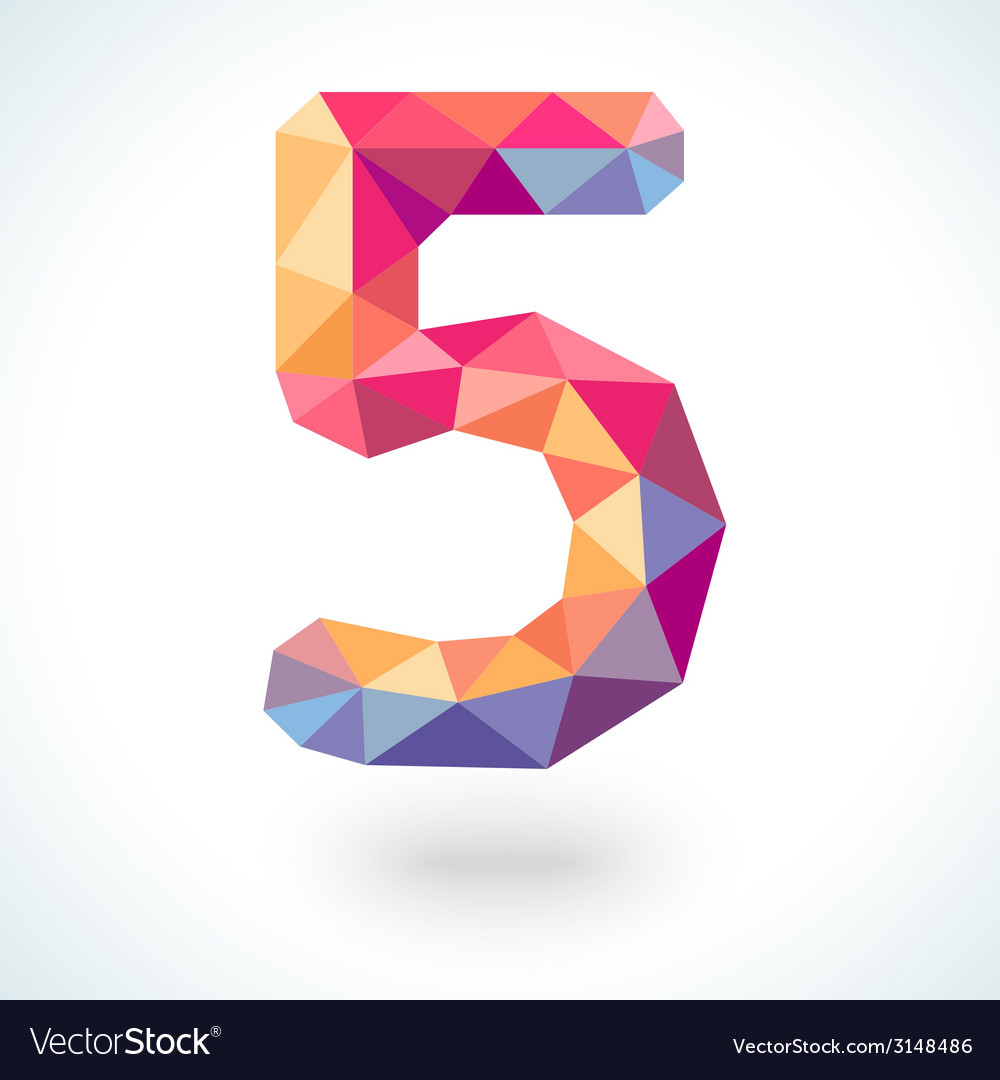Number five in modern polygonal crystal style vector | Price: 1 Credit (USD $1)