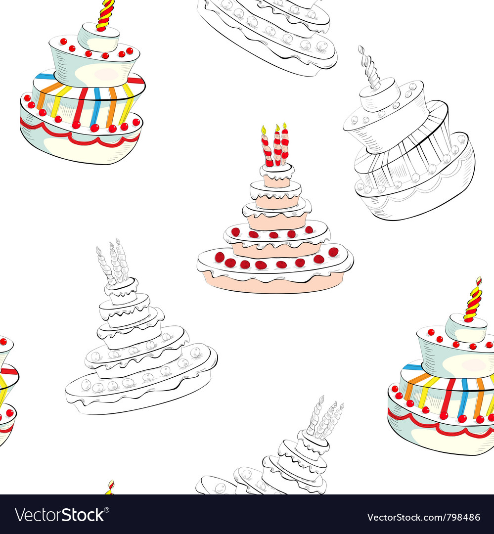Seamless background with wedding cake vector | Price: 1 Credit (USD $1)