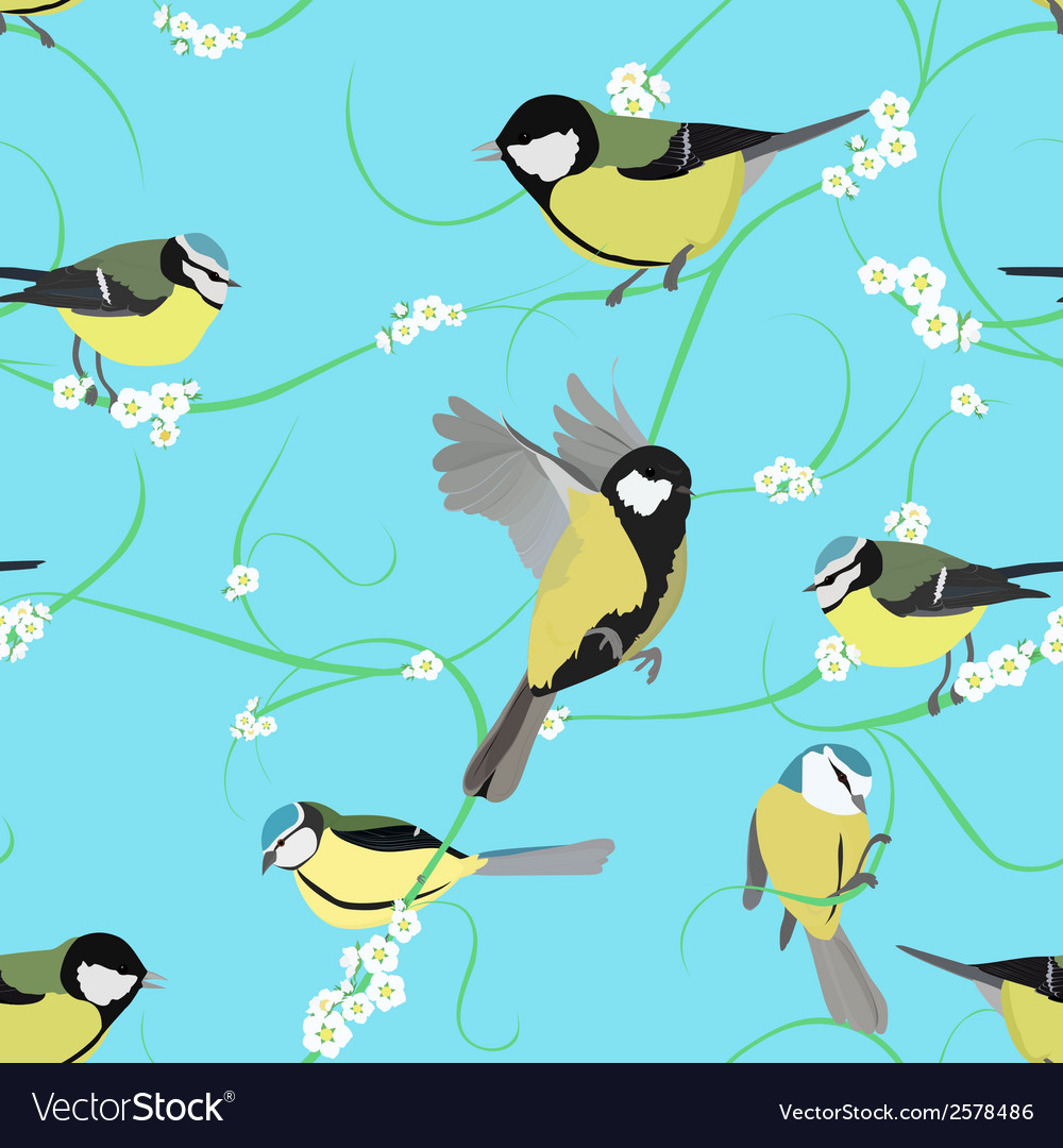 Titmouse pattern with flowers vector | Price: 1 Credit (USD $1)